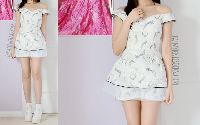 More modeled photos of SheIn's moon-and-stars printed sweetheart flared top and matching shorts co-ord two-piece set.