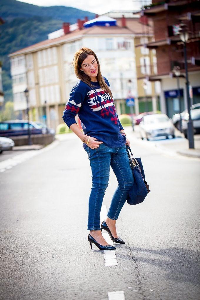 Jacquard , jersey , Mango , street style, Estilo , Lucía Díez , Blogger