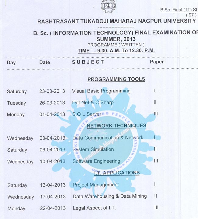 RTMNU B.Sc. IT Final Year 2013 Summer Timetable