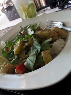 Tofu Thai Green Curry:  The sweetness of coconut milk, the sourness of lime, and the saltiness of fish sauce. A Thai green curry made with tofu and vegetables.  Delicious.