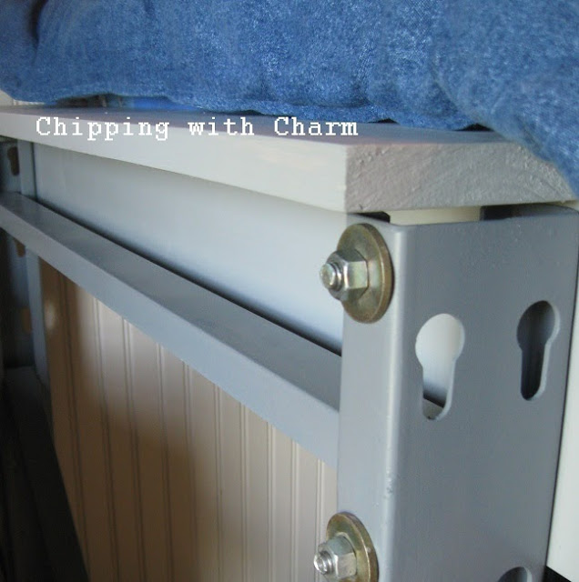 Chipping with Charm:  Pallet racks to Lofted Bed...http://www.chippingwithcharm.blogspot.com/