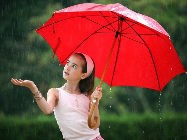 Girl With Red Umbrella in Rain
