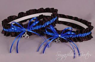 thin blue line police officer wedding garter set