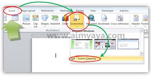 Gambar: Cara membuat screenshot dengan menggunakan Microsoft Word 2010