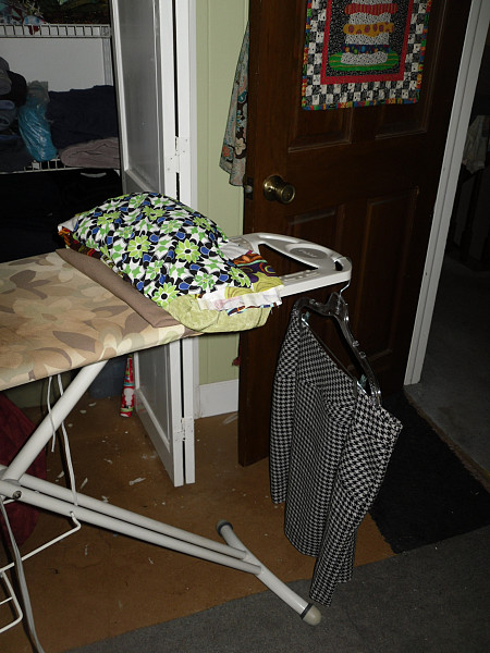 First up, I present my much less piled upon ironing board: