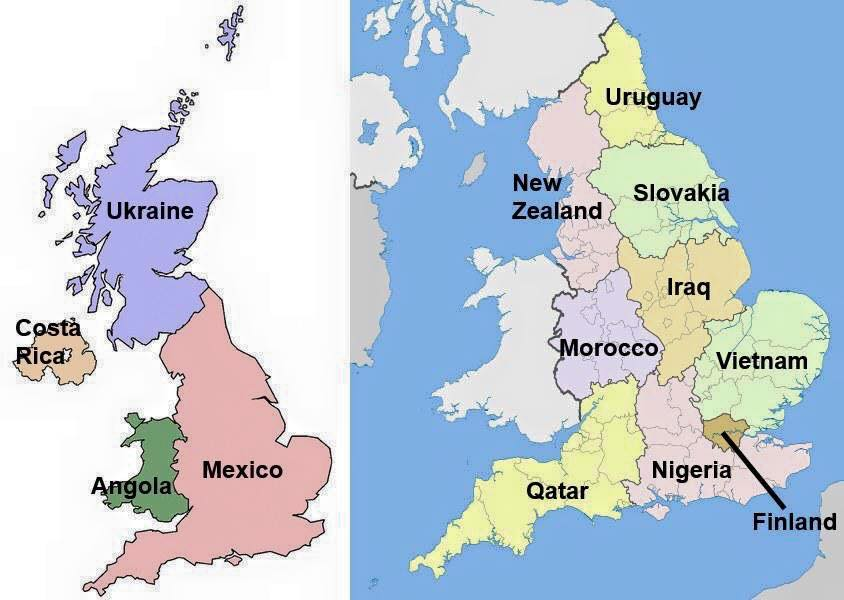 UK regions and the countries that have an equivalent GDP