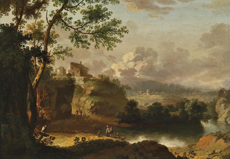 Christian Wilhelm Ernst Dietrich - Gebirgslandschaft mit einem Flusslauf und Figuren