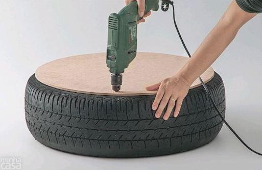 casa mutante decora o puff de pneu como fazer. Black Bedroom Furniture Sets. Home Design Ideas