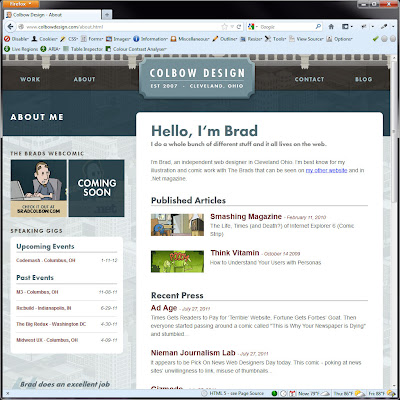 Screen shot of http://www.colbowdesign.com/about.html.