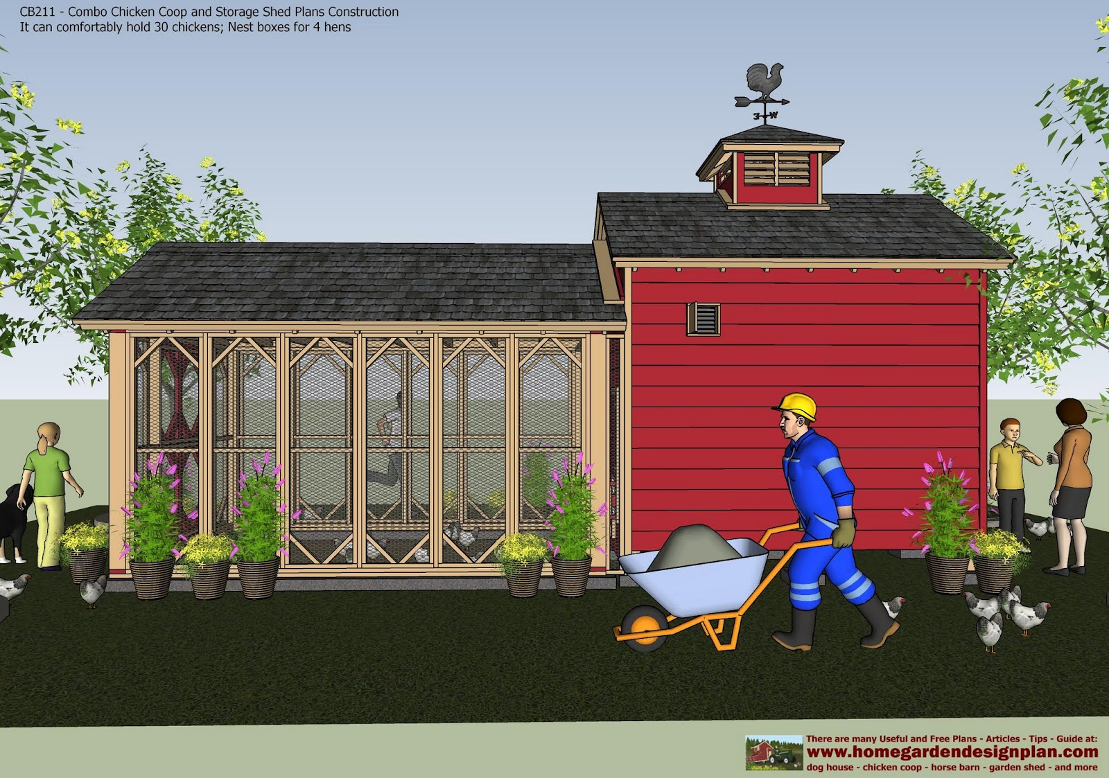 Home Garden Plans Combo Chicken Coop Garden Shed Plans