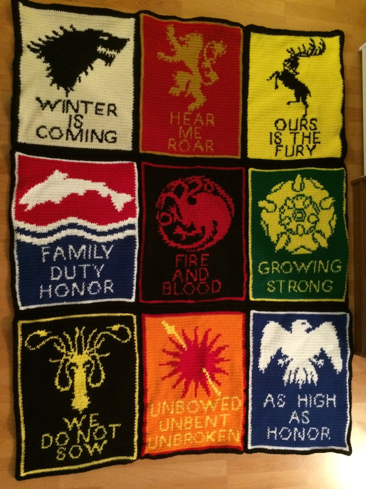 Free Crochet Pattern Game Of Thrones : Vancouver Crafty Geeks: Game of Thrones Crochet Blanket
