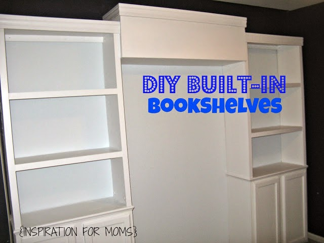 DIY Built-in Bookshelves, shared by Inspiration for Moms