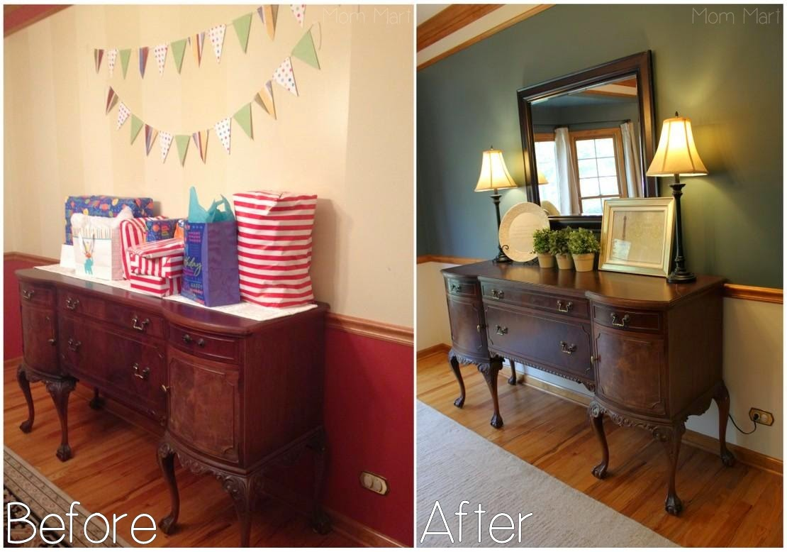 Inexpensive Dining Room Makeover #Vignette #DIY #Makeover #Paint #ChairRail #topiary #neutral