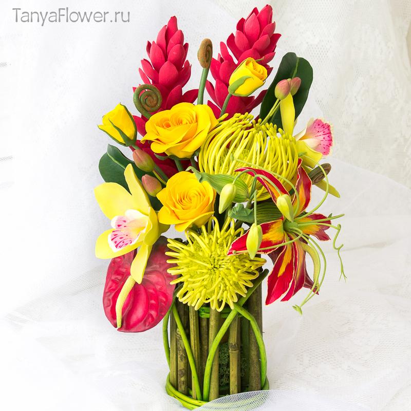 заказать букет цветов из полимерной глины