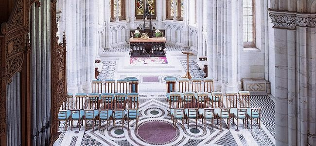 Carrara arble and Cosmati-style floor, chapel in Mount Stuart House, Isle of Bute