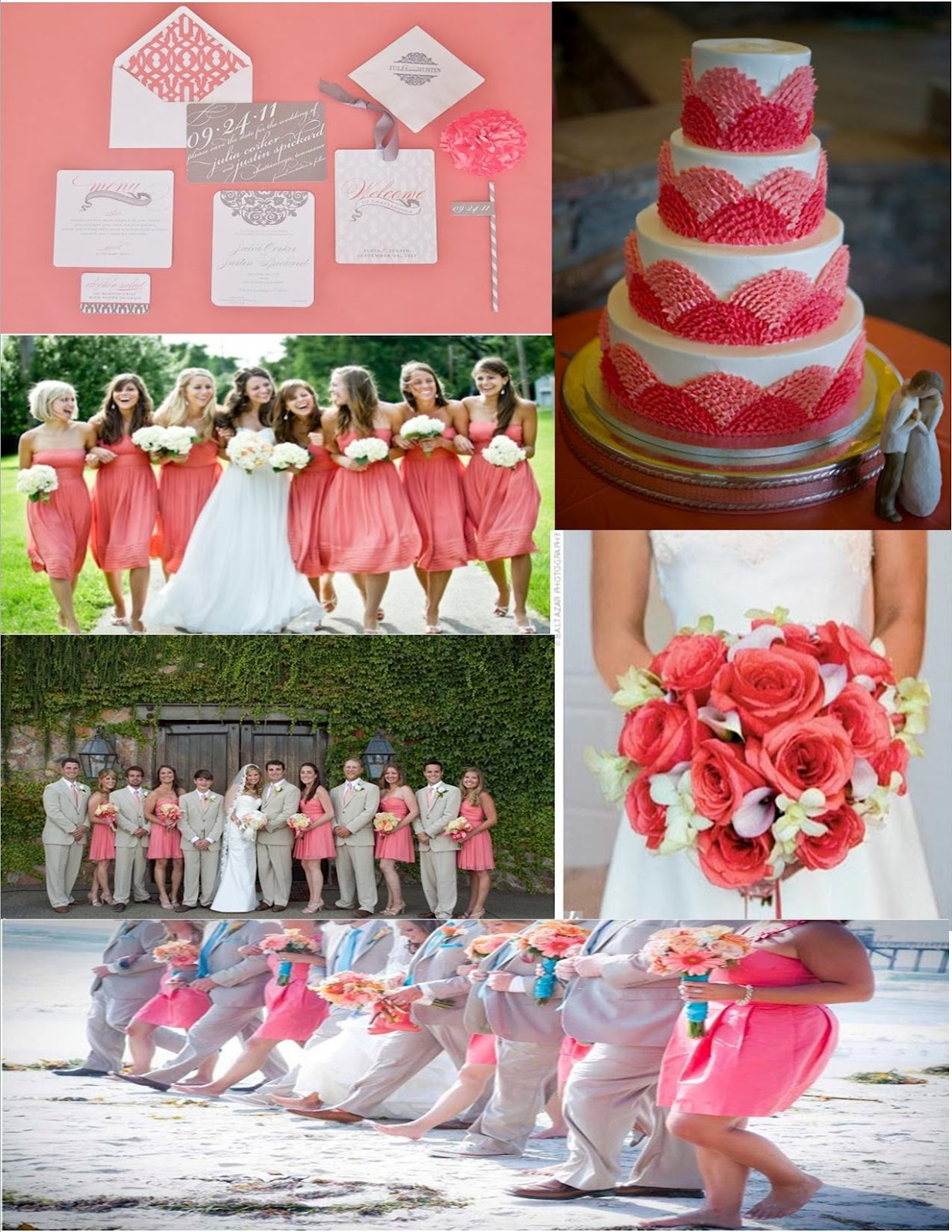 The Bees Times Three: Wedding Wednesday:Coral Inspiration Board