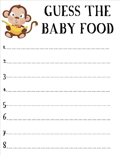image about Guess the Baby Food Game Free Printable named Child SHOWER Sport Child Food items - boy or girl shower activity