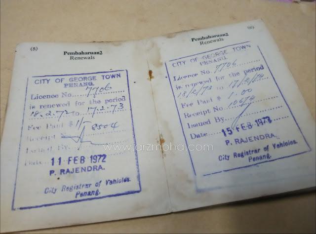 sejarah penarik beca pulau pinang, harga pembaharuan lesen oleh majlis bandaraya georgetown pulau pinang,