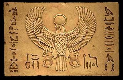 Mitologia egipcia, hieróglifos, falcão hórus alado, deuses egipcios