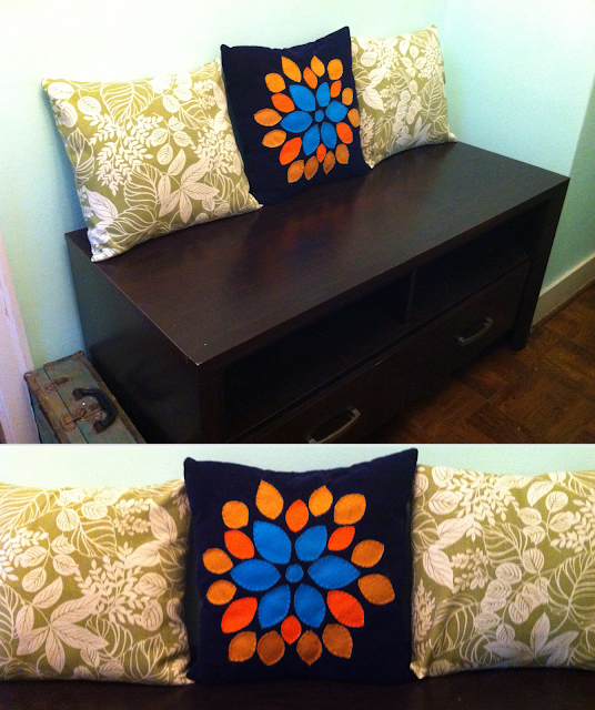 Cottage Home: Use an old entertainment stand and handmade pillows as a foyer bench on BinkysNest.com