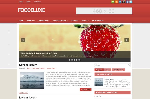 Food Restaurant Red Jquery Blogger Theme Template