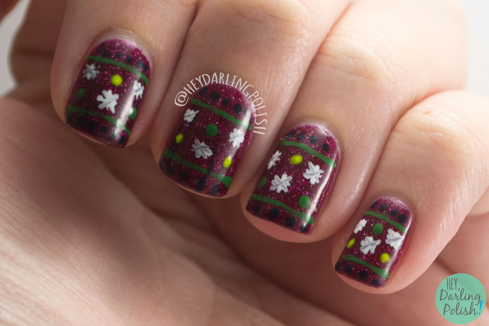 nails, nail art, nail polish, hey darling polish, ugly christmas sweater, festive jumper, red, christmas, holiday, nail linkup
