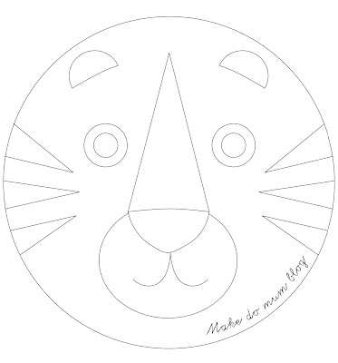 retro tiger template outline