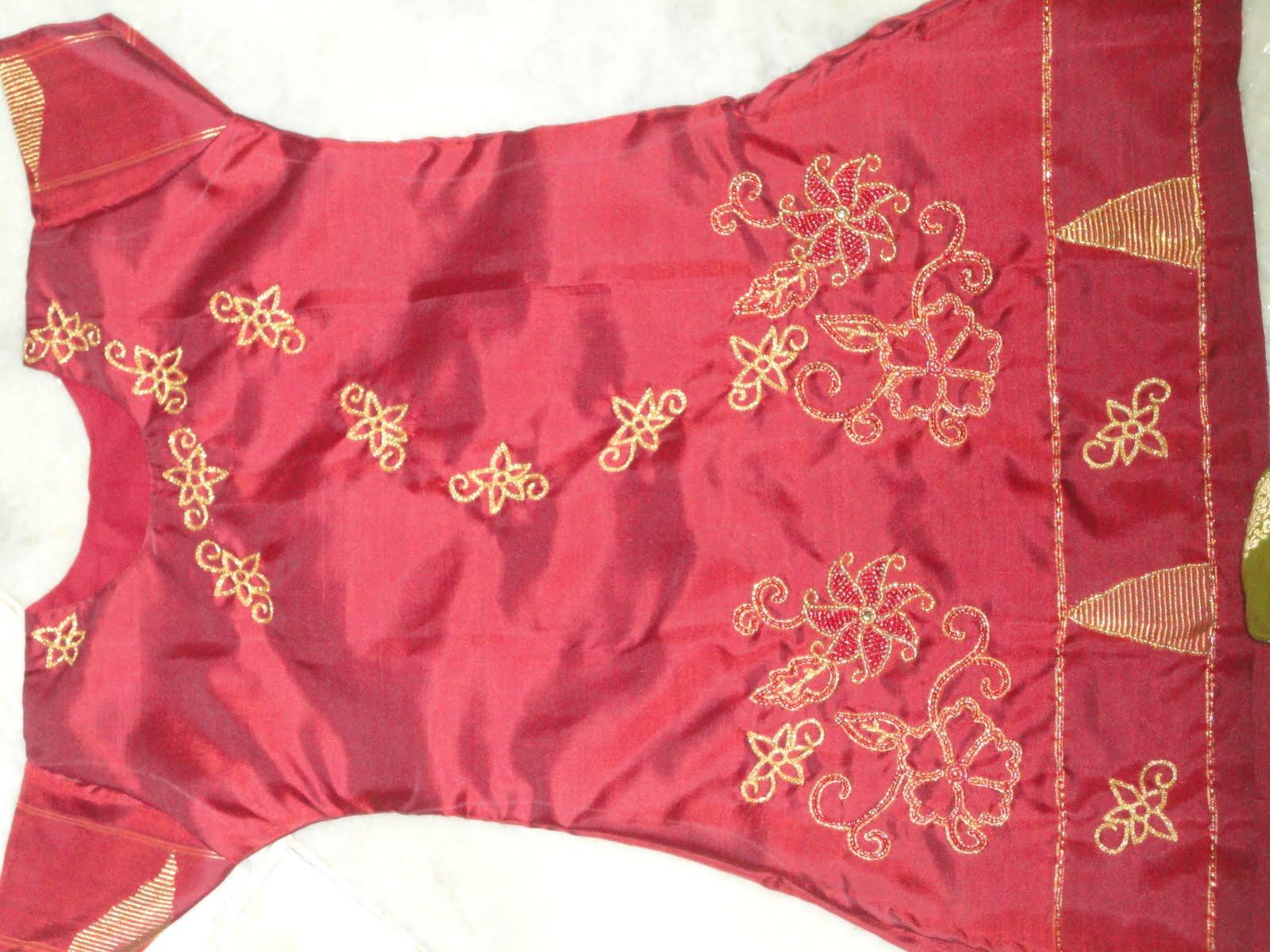 Aari Zardosi Beads Embroidery Pattu Churidar