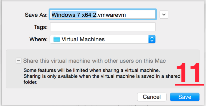 wmware fusion 7 pro saving virtual machine's file
