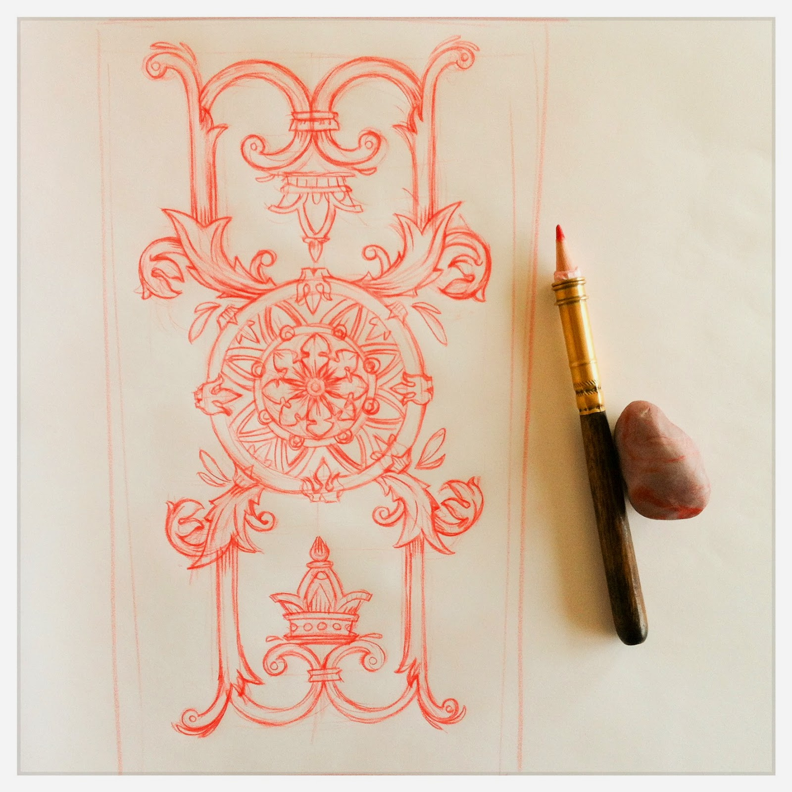 Design for: Ace of Coins -In the spirit of the tarot Marseille - minor arcana - red pencil sketch by Cesare Asaro - Curio & Co. (Curio and Co. OG - www.curioandco.com)
