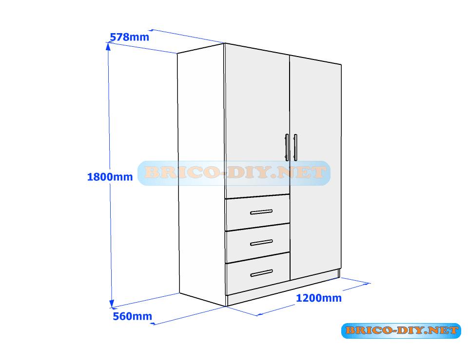 Plano de ropero guardarropa de melamina blanco con gavetas for Medidas estandar de cajones de cocina