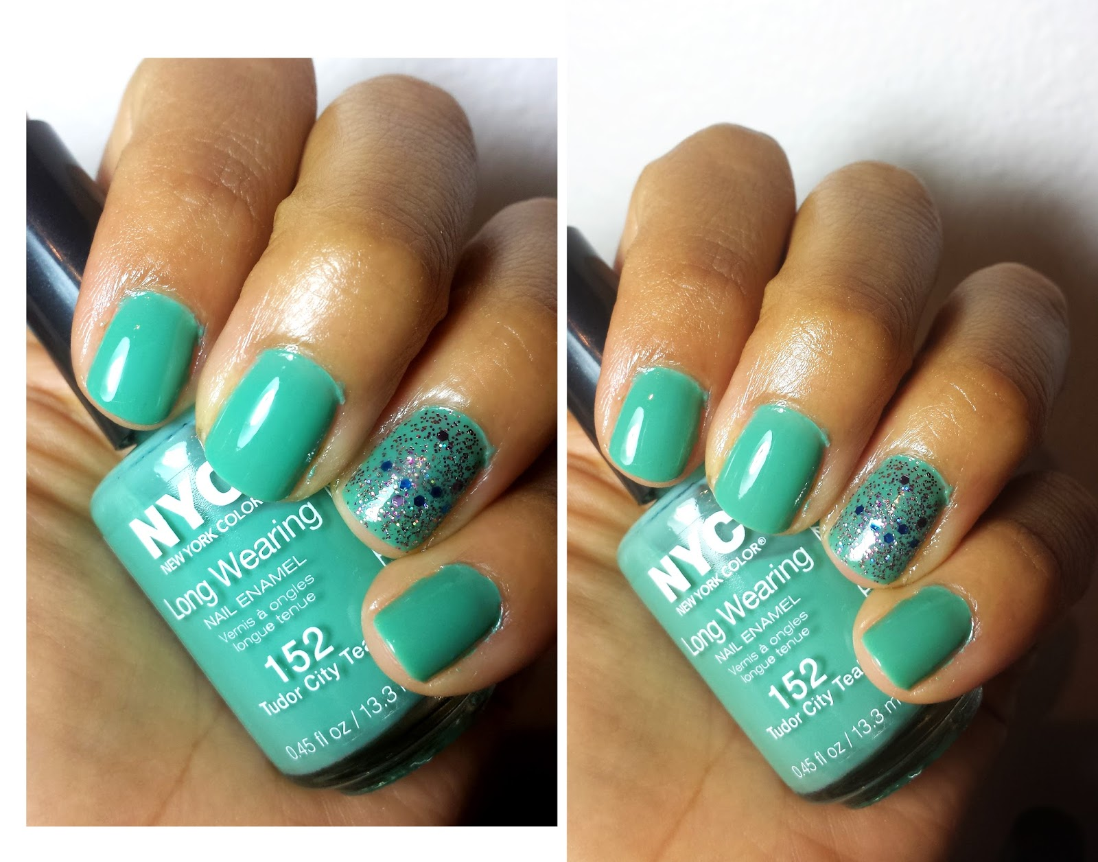 NOTD: NYC Long Wearing Nail Polish in: Tudor City teal and Starry ...