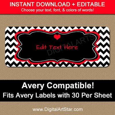 printable black & white valentines day return address label template