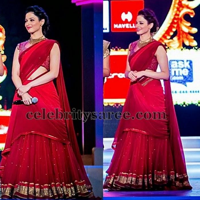 Tamanna Red Designer Half Saree