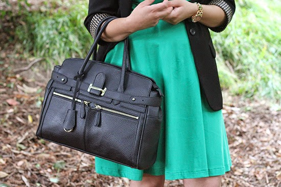Black Bag and Green Dress