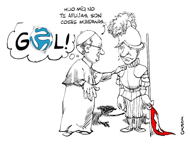 el papa francisco consolando a un guardia suizo