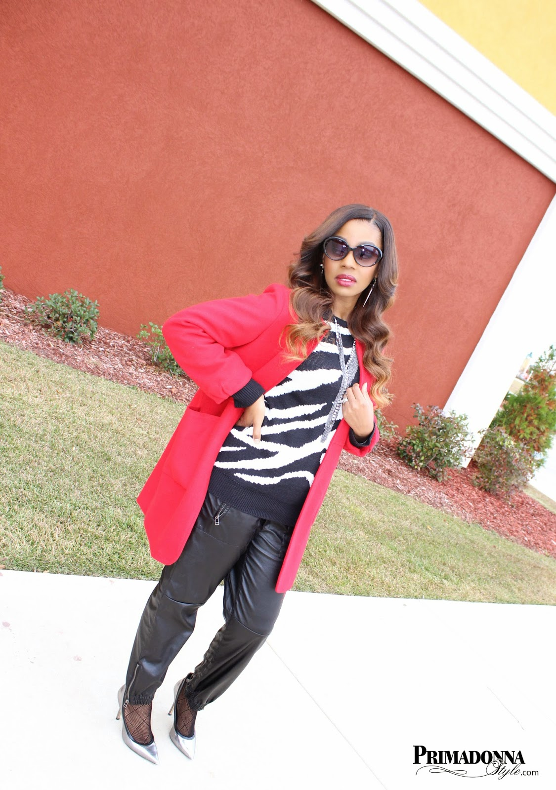 sheinside Red Long Sleeve Pockets Loose Woolen Coat lauren conrad spiked earrings forever 21 zebra print sweater blank nyc vegan leather jogger pants trousers charming charlie on the fringe necklace sheer trouser socks rock and republic chrissie pumps heels pewter