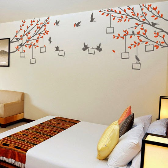 Natural Tree Shapes Wall Paintings Colorful Attractive For Kids Room With Trees And Birds