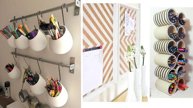 organiser son bureau à la mode feng-shui Marie Kondo ,déco rangement ranger organsier bureau workplace work space, pots à crayons décorés DIY tableau liège suspension