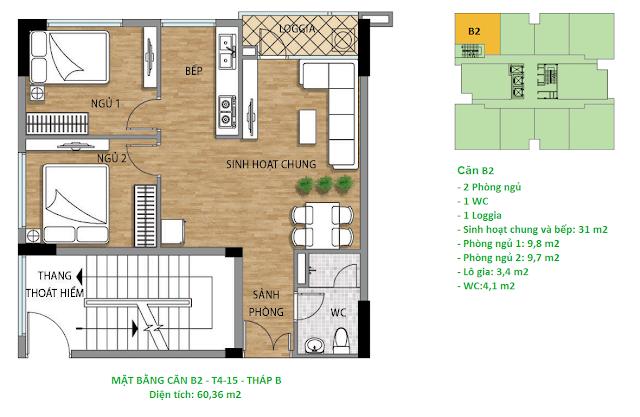 Căn hộ B2 diện tích 60,36 m2 tầng 4-15 Valencia Garden