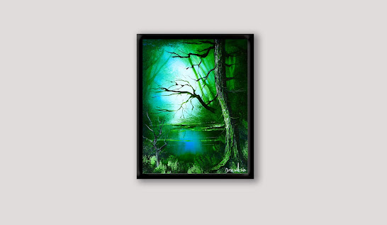 How to paint deep green forest with a hidden lake, big tree and a shining light, 101