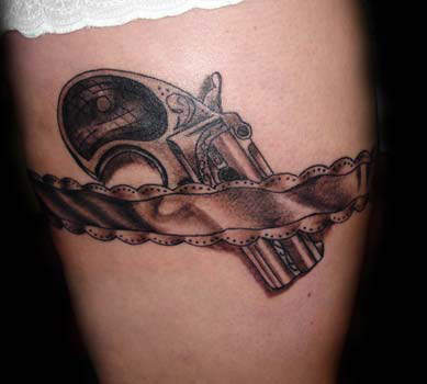 Gun tattoos on girls about lady for Gun tattoos for girls