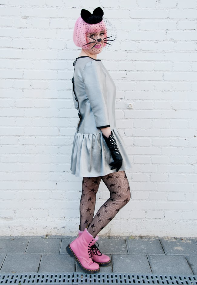 pink doc martens, cat women, cat hat, Pearls & Swine