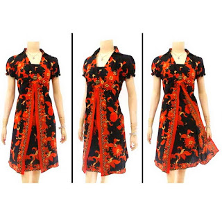 DB2965 Model Baju Dress Batik Modern Terbaru 2013