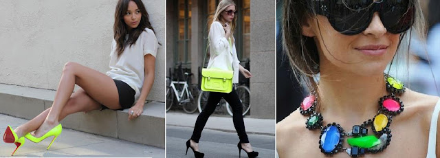neon shoes, neon bag, neon necklace, neon accessories
