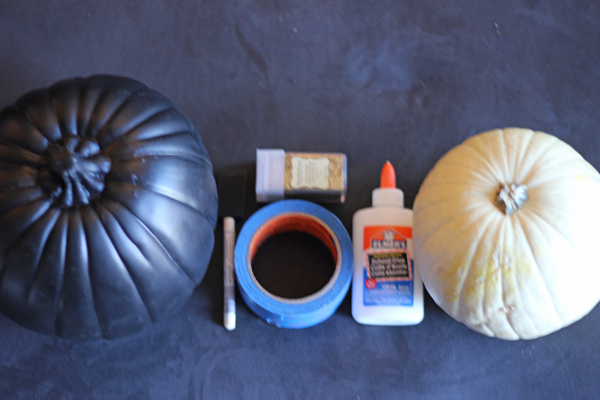 glitter pumpkins, chevron striped pumpkin