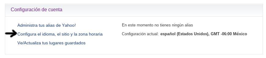 configuracion de cuenta configurar idioma o cambiar idioma en correo yahoo