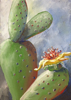 Prickly Pear Blossom Painting by Pamela Hunt Lee