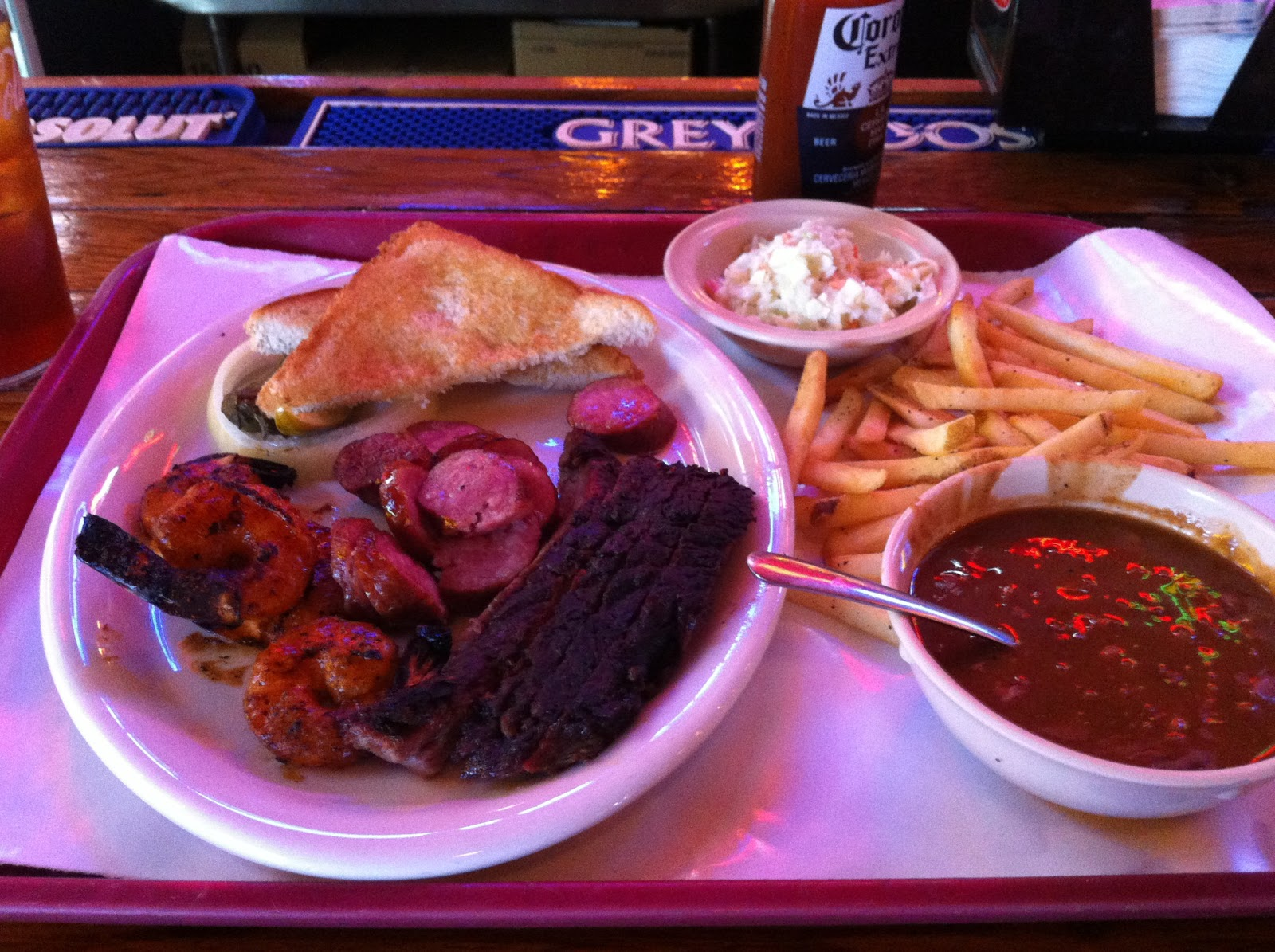 Riscky's Bar-B-Q BBQ Barbecue Barbeque Bar-B-Que Combo Fort Worth Full Smoker Brisket Shrimp Sausage Bologna