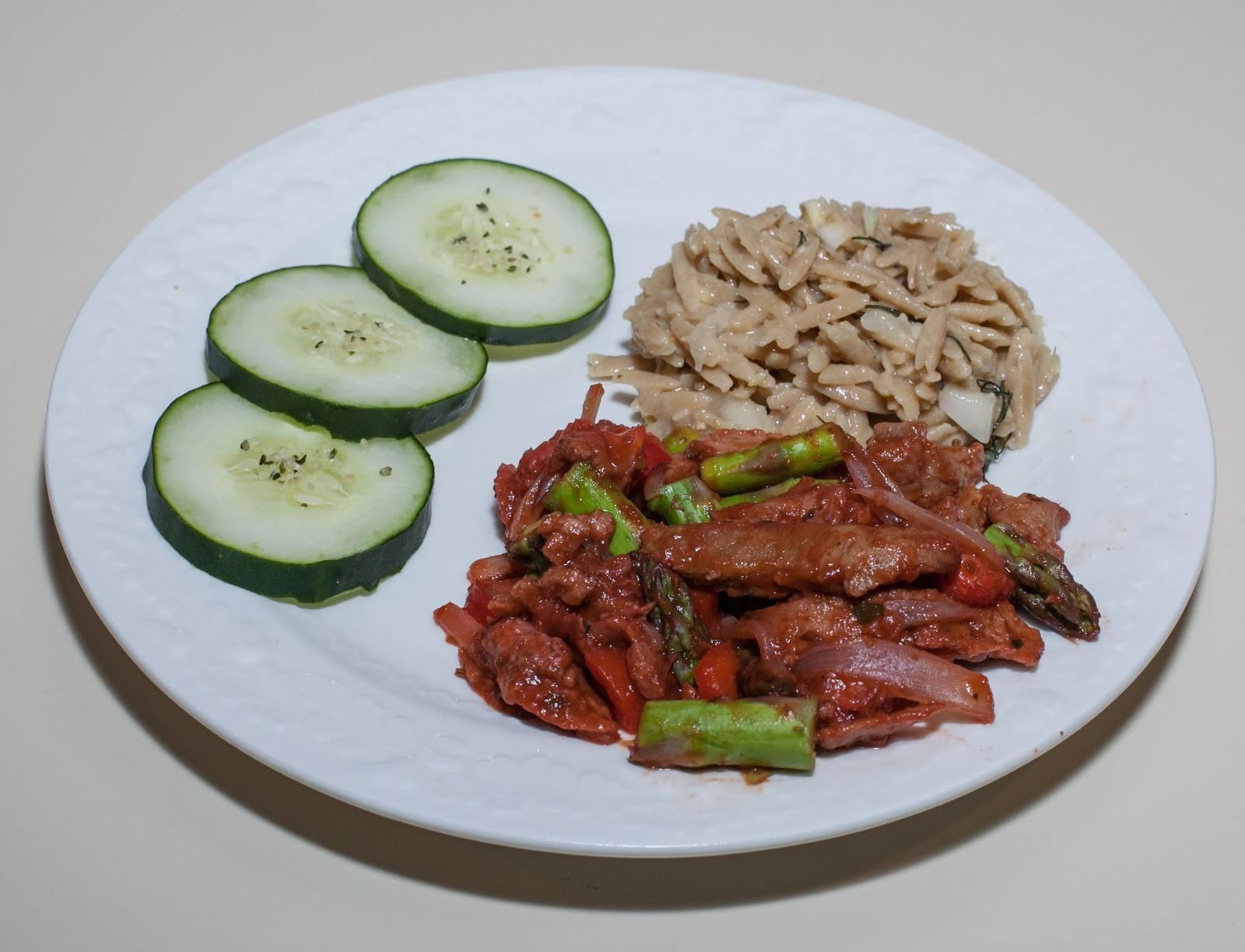 ... Asparagus and Seitan, Whole Wheat Orzo with Fennel and Ginger-Miso